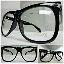 OVERSIZE EXAGGERATED VINTAGE Style NERD CLUB Clear Lens EYE GLASSES Black Frame