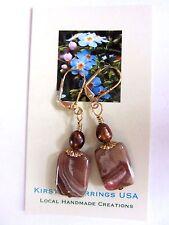 EARRINGS Chocolat Baroque Pearl Rhodochrosite Gemstone Gold LVRBK Artisan Made