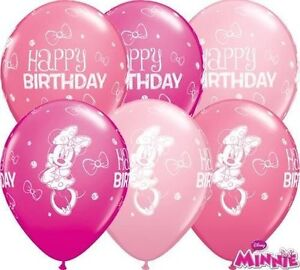 "11"" Disney Minnie Mouse Happy Birthday Latex Balloons Party Decorations Qualatex"