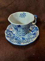 MUG CUP & SAUCER REAL ENGLISH PORCELAIN BLUE & WHITE ENGLAND VINTAGE RARE HTF