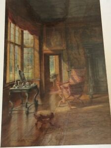THE SPANGLED BEDROOOM KNOLE HOUSE WATERCOLOUR CHARLES ESSENHIGH-CORKE 1913