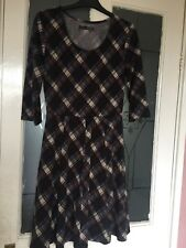 ATMOSPHERE WOMENS DESIGNER CHECK PATTERN JERSEY STYLE DRESS SZ 8 UK SOFT FABRIC