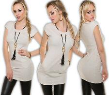 vestito mini + CATENA tubino di maglia abito camicia tunica da sera