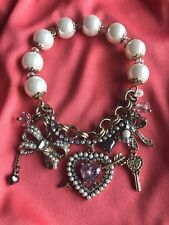 Betsey Johnson Cupid's Arrow Pink Crystal Heart Gold  Bow SPARKLY Pearl Bracelet