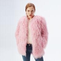 Luxe 100%Real Sheepskin Lamb Fur Coat Mongolian Fur Coat Jacket Yellow/Bleu S-XL