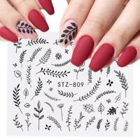 Nail Art Water Decals Stickers Transfers Black Wild Flowers Fern Floral Leaf 809