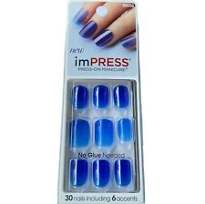NEW Kiss Nails Impress Press On Manicure Short Gel Blue Jelly Collection