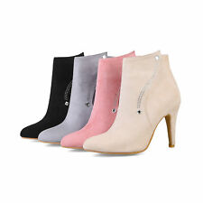 Women's Suede Fabric Pointed Toe Zip Up Ankle Boots High Heel Shoes UK Size O215