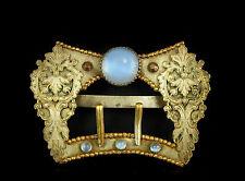 Ancienne boucle de ceinture c 1900 laiton argenté et verroterie belt buckle