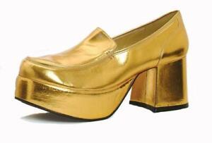Gold Platform Loafers Disco Dancer 70s Pimp Costume Shoes Mens size 10 11 12 13