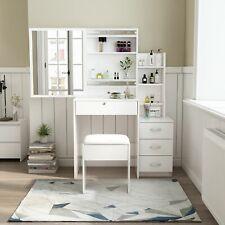 NEW Dressing Table Set Makeup Desk Tables Drawer Sliding Mirror Stool White Wood