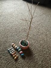 18 inch Easter Tree Decoration 14 Hanging Wooden Ornaments Bendable Branches Egg