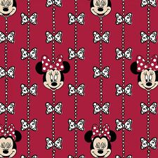 Disney Minnie Mouse Bow Stripe Flanne Red 100% cotton flannel fabric by the yard