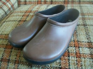 Sloggers Mens 11 Brown Rubber Anti-Microbial Wicking Insole Clogs