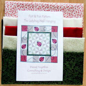 The Ladybug Wall Hanging, Red Ladybugs, DIY Quilt Kit Bugs Exclusive