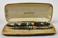 Sheaffer Balance Autograph Fountain Pen & Pencil Grey & Red Vein 14k Gold