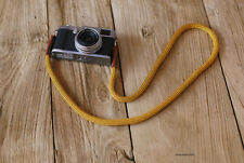 Cool gold Climbing rope 10mm brown leather  handmade Camera neck strap
