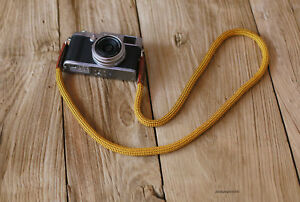 Windmup Cool gold Climbing rope 10mm brown leather  handmade Camera neck strap