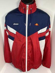 Ellesse Sempre Track Jacket Men's Medium M Red White Navy Full Zip $100