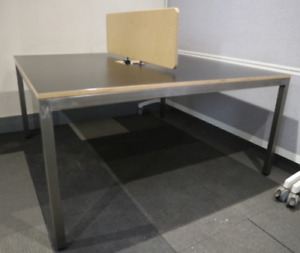 Black 1400mm Pod of 2 Duo 1400 Bench Desks with Ply Screen - Seats 2