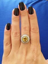 Silver Plated Yellow Stone Ring. Size N. Cz.