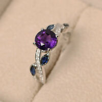1.52 Ct Natural Diamond Round Cut Amethyst Ring 14K Real White Gold Size 4 5 6 7