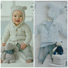 KNITTING PATTERN Baby EASY KNIT Long Sleeve Hooded Ears Cardigan DK KC 4319