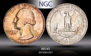 1963-D Washington Quarter NGC MS65 Unc Vibrant Bronze Color Toned Beautiful Gem
