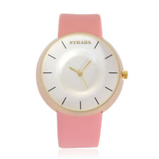 PINK WATCH LADIES DESIGNER WATCH PINK FAUX LEATHER BAND LARGE WHITE FACE NEW