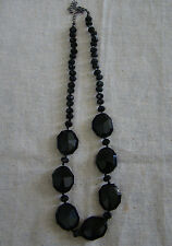 Vintage Black Acrylic Faceted Bead Necklace w/ Adjustable Length 121612