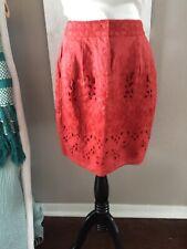 Anthropologie Baraschi Red Rust Eyelet Cutout Skirt 100% Linen Lined Size 4