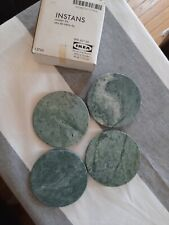 """New listing Vintage Green Marble Heavy Weight Stone 4"""" Coasters W/ Skid Backing"""