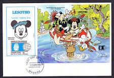 1992 Lesotho Native Americans Walt Disney First Day Cover Mini Sheet Boat Moose