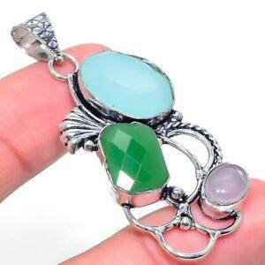 "Chalcedony, Emerald Gemstone Handmade 925 Sterling Silver Jewelry Pendant 2.21"""