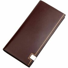 Men's Long Bifold Leather Wallets Business Styles Card Holders Coin Purse Gifts