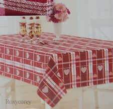Valentine's Day Red & White Heart Jacquard 60x84 Oblong Tablecloth NWT
