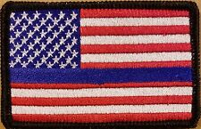 USA American Flag Army Law Patch Iron-On Tactical Morale Emblem Thin Blue Line
