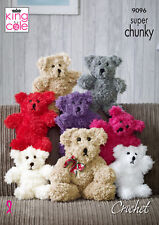 Teddy Bear Small or Large Toys Tufty Super Chunky Crochet Pattern King Cole 9096