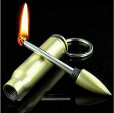 Hot  Portable Safety Permanent Match Keychain Lighter Stainless Steel Bullet Box
