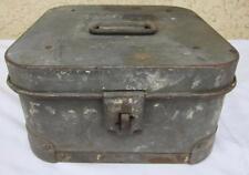 """Vintage Russakov Metal Hinged Reel Film Box Can Case US WWII Korean 12"""""""