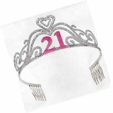 "21st Birthday Party Supplies - Silver Glitter Metal Tiara  ""21"" in Pink Glitter"