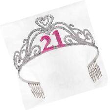 "21st Birthday Party Supplies - Glitter Metal Tiara  ""21"" in Pink Glitter"