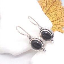 Onyx schwarz black oval Design Ohrringe Ohrhänger Haken 925 Sterling Silber neu