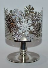 BATH & BODY WORKS GLITTER SNOWFLAKES PEDESTAL LARGE 3 WICK CANDLE HOLDER SLEEVE