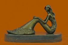 Abstract Art Sculpture Bronze Copper Mermaid Sea Maid Girl Fish Statue Figurine