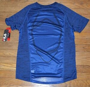 Fila Sport Performance T-Shirt Tee Fitted Top Provent Mesh Panels Blue Twisted