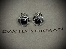 David Yurman 925 Silver 7 mm Black Onyx Infinity Cable Earrings With DY Pouch