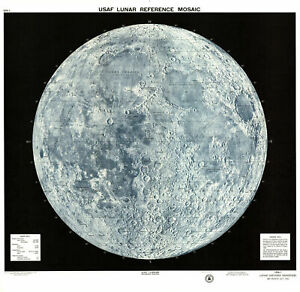 VINTAGE 1965 USAF LUNAR MOON MAP Print Poster Wall Art Picture A4 +