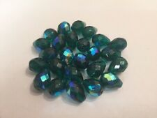 25 12 x 16mm Emerald Green AB Faceted Czech Glass Fire Polished Beads