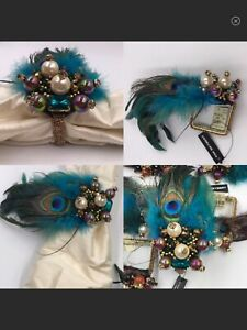 KIM SEYBERT Fabulous Napkin Rings With Beads Peacock Feathers Turquoise Set Of 4